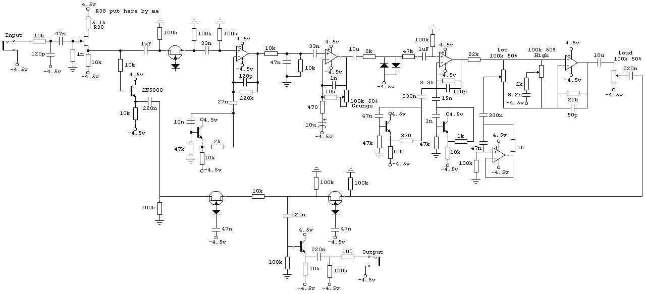 Дисторшн DOD - Grunge FX-69B (схема с этого сайта).  Какие полевые транзисторы в ней используются, хотя бы примерно...