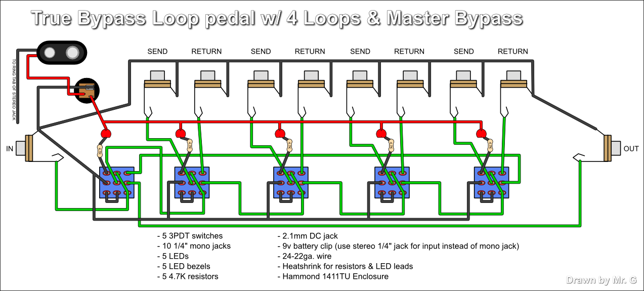 True ByPass Looper loop pedal circuit diagram circuit and schematics diagram guitar pedal wiring diagram at nearapp.co