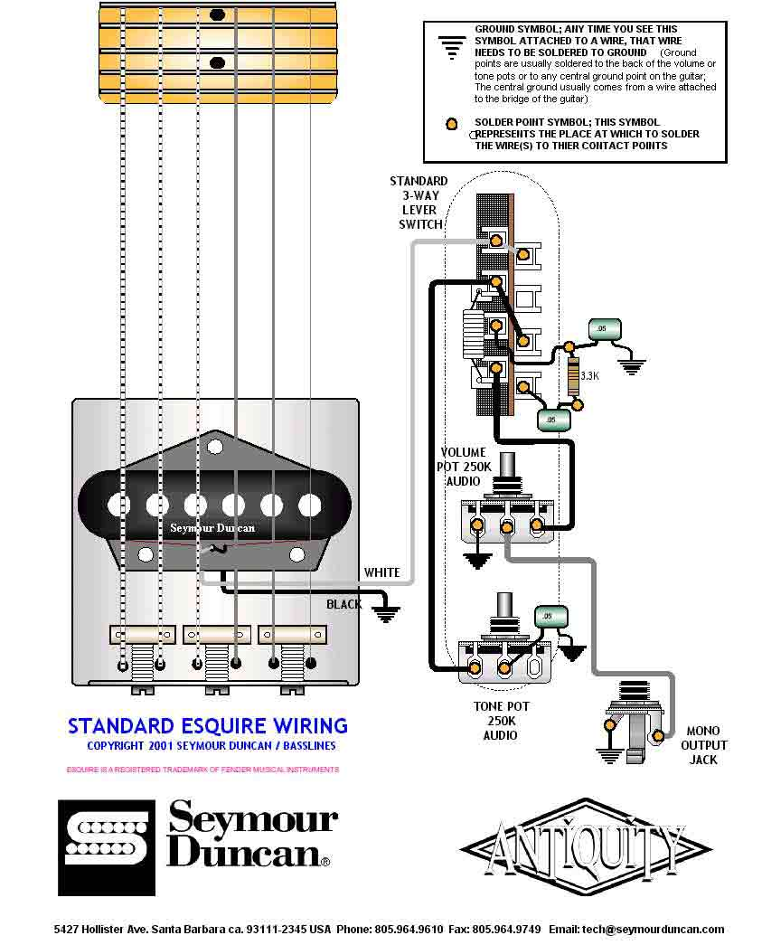 guitar wiring drawings, switching system/Esquire/Seymour standard ...