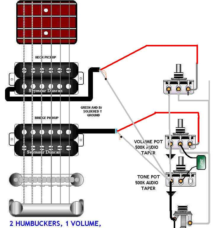 Guitar Wiring Diagram 2 Pickup 1 Volume