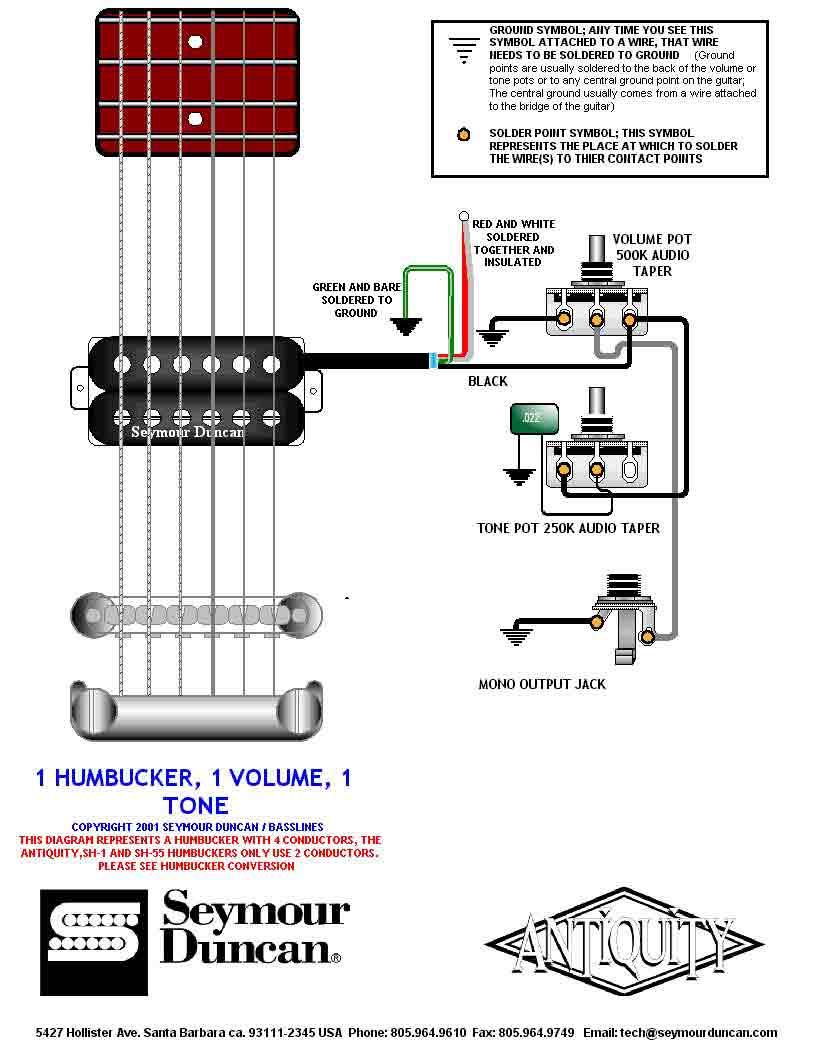 Guitar Wiring Drawings Switching System Seymourduncan 1hum 1vol Humbucker Electronics