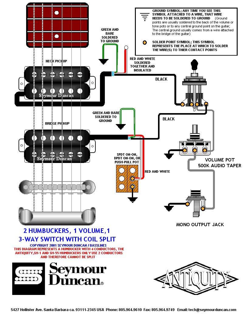 guitar wiring drawings, switching system/SeymourDuncan/2hb 1vol ...